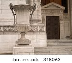 A vase sculpture in front of the NYC Public Library. - stock photo