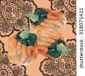 pumpkin watercolor  openwork ... | Shutterstock . vector #318071411