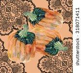 pumpkin watercolor  openwork ... | Shutterstock . vector #318071411