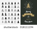 hand drawn christmas tree icons.... | Shutterstock .eps vector #318111194