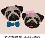 cartoon pugs. girl and boy | Shutterstock .eps vector #318122501