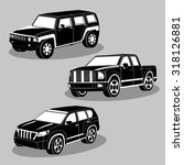 vector black and white cars... | Shutterstock .eps vector #318126881