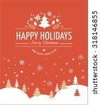 red merry christmas greeting... | Shutterstock .eps vector #318146855