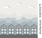wooden grey houses  cityscape | Shutterstock .eps vector #318154175