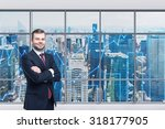 smiling handsome businessman... | Shutterstock . vector #318177905