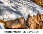 white snow on browb rocks with... | Shutterstock . vector #318191819