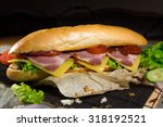 huge sandwich stuffed with... | Shutterstock . vector #318192521
