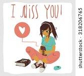 i miss you postcard. girl...