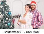 attractive husband and wife are ... | Shutterstock . vector #318217031