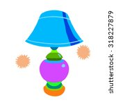 cartoon lamp flat icon. the...