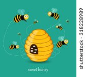 Cute Busy Bees Flying Around A...