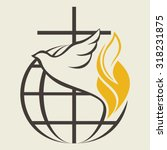 globe  holy spirit  dove  cross ... | Shutterstock .eps vector #318231875