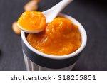 pumpkin puree in white ceramic... | Shutterstock . vector #318255851