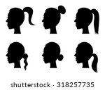 set of black silhouette girl head with different hairstyle tail ponytail bun