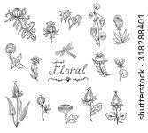 vector set of doodle flower... | Shutterstock .eps vector #318288401