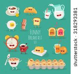 Funny Breakfast Set. Comic...