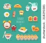 Funny Breakfast Set. Comic...