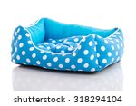 Stock photo blue pet bed on white background isolated 318294104