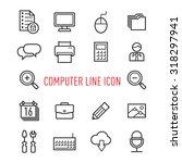 set of computer line icon...