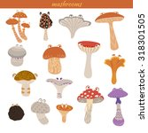 mushrooms cartoon set  honey... | Shutterstock .eps vector #318301505
