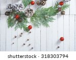 red christmas balls  pine and... | Shutterstock . vector #318303794