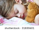 toddler sleeping with her teddy ... | Shutterstock . vector #31830601