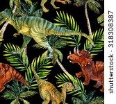 dinosaur watercolor seamless... | Shutterstock . vector #318308387