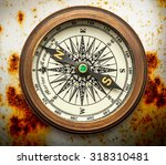 vintage brass compass on... | Shutterstock . vector #318310481