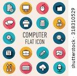 set of computer flat icon...