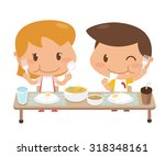 kids are eating together.... | Shutterstock .eps vector #318348161