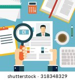 job interview concept with... | Shutterstock .eps vector #318348329