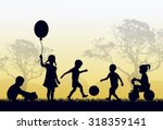silhouettes of children playing ... | Shutterstock .eps vector #318359141