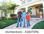 attractive diverse happy family ...   Shutterstock . vector #31837096