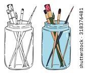 Illustration Of Brush In Jar....