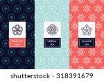 lovely vector linear floral...   Shutterstock .eps vector #318391679