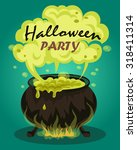 witches cauldron with green... | Shutterstock .eps vector #318411314