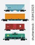 cool flat design freight train... | Shutterstock .eps vector #318412025