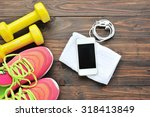 sport shoes smartphone with set ... | Shutterstock . vector #318413849