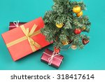 christmas tree and presents on... | Shutterstock . vector #318417614