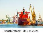 ship at the wharf in shipyard...   Shutterstock . vector #318419021