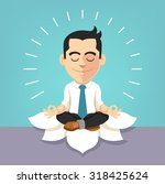 businessman doing yoga. vector... | Shutterstock .eps vector #318425624