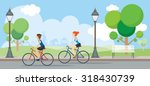 couple riding bicycles in... | Shutterstock .eps vector #318430739