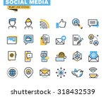 Trendy flat line icon pack for designers and developers. Icons for social media, social network, communication, digital marketing, for websites and mobile websites and apps.  | Shutterstock vector #318432539