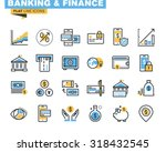 Trendy flat line icon pack for designers and developers. Icons for banking, finance, online payment, m-banking, savings, internet payment security, for websites and mobile websites and apps.  | Shutterstock vector #318432545