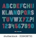 retro stripes funky fonts set... | Shutterstock .eps vector #318438731