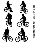 people on bicycles on a white... | Shutterstock . vector #31844158