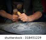 craftsman hands working with a... | Shutterstock . vector #318451229