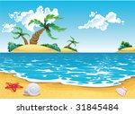 cartoon seascape. vector... | Shutterstock .eps vector #31845484