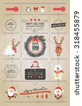 set of christmas ornaments and... | Shutterstock .eps vector #318455879