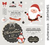 set of christmas ornaments and... | Shutterstock .eps vector #318456401
